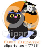 Royalty Free RF Clipart Illustration Of A Black Cat With A Pirate Flag And Bat Over A Happy Halloween Greeting by bpearth