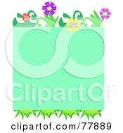 Green Background Bordered In Grass And Colorful Flowers