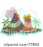 Royalty Free RF Clipart Illustration Of A Tribal Tiki Island With Palm Trees And A Volcano by bpearth