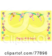 Yellow Background Bordered By Christmas Candy Canes And Hard Candies