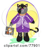 Black Cat Trick Or Treating In A Skeleton Costume