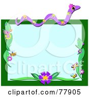 Snake And Insect Boder With Flowers On Green