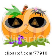 Halloween Pumpkin Wearing A Mask With A Spider And Worm