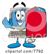 Desktop Computer Mascot Cartoon Character Holding A Red Sales Price Tag