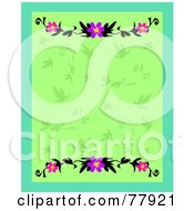 Green Leafy Background Bordered By Hibiscus Flowers