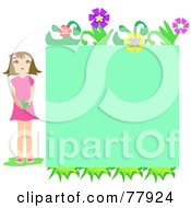 Girl Standing By A Green Floral Text Box