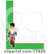 Royalty Free RF Clipart Illustration Of A White Background Bordered With Green And A Marching Toy Soldier by Maria Bell