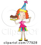 Royalty Free RF Clipart Illustration Of A Cute Red Haired Birthday Girl Serving Cupcakes by Maria Bell