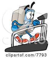 Desktop Computer Mascot Cartoon Character Walking On A Treadmill In A Fitness Gym