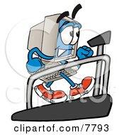 Desktop Computer Mascot Cartoon Character Walking On A Treadmill In A Fitness Gym