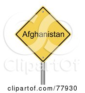 Royalty Free RF Clipart Illustration Of A Yellow Afghanistan Warning Sign by oboy