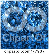 Royalty Free RF Clipart Illustration Of A Background Of Blue 3d Floating Blocks by Tonis Pan