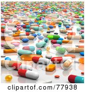 Royalty Free RF Clipart Illustration Of 3d Colorful Scattered And Mixed Pills On A White Counter