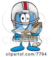 Desktop Computer Mascot Cartoon Character In A Helmet Holding A Football