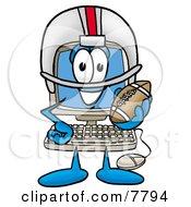 Desktop Computer Mascot Cartoon Character In A Helmet Holding A Football