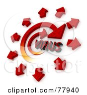 Royalty Free RF Clipart Illustration Of 3d Red Arrows Spreading From A Spiraling Virus by Tonis Pan