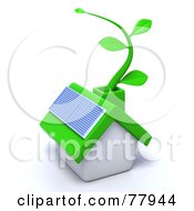 3d Green Eco Friendly Home With A Solar Panel And Green Vine