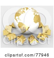 Royalty Free RF Clipart Illustration Of A 3d Gold Global Community Village Circling A Globe by Tonis Pan