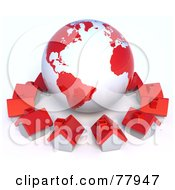 Royalty Free RF Clipart Illustration Of A 3d Red Global Community Village Circling A Globe by Tonis Pan