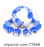 Royalty Free RF Clipart Illustration Of A 3d Blue Global Community Village Circling A Globe by Tonis Pan