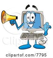 Desktop Computer Mascot Cartoon Character Holding A Megaphone