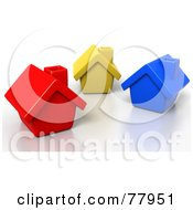 Three 3d Red Yellow And Blue Homes