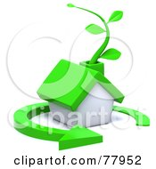 3d Green Eco Friendly Home With A Vine In The Chimney And A Circle Arrow