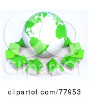 Royalty Free RF Clipart Illustration Of A 3d Green Global Community Village Circling A Globe