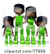 3d Toy Black Family In Green