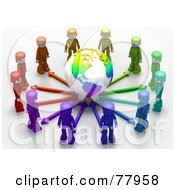 3d Colorful Network People Standing Around A Globe