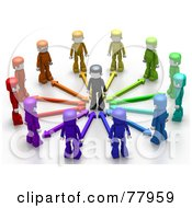 Royalty Free RF Clipart Illustration Of Colorful 3d People With Arrows Surrounding A Person by Tonis Pan #COLLC77959-0042