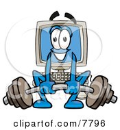 Desktop Computer Mascot Cartoon Character Lifting A Heavy Barbell