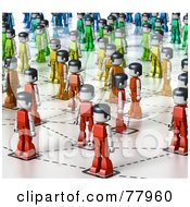 Royalty Free RF Clipart Illustration Of A 3d Network Of Rainbow Colored Toy People by Tonis Pan