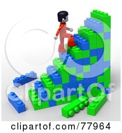 Royalty Free RF Clipart Illustration Of A 3d Toy Person Climbing Building Block Stairs
