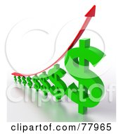 Royalty Free RF Clipart Illustration Of A 3d Graph Of Green Dollar Signs And A Red Arrow