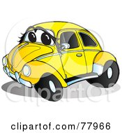 Royalty Free RF Clipart Illustration Of A Yellow Slug Bug Car With A Face And Chrome Accents by Snowy