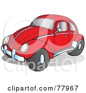 Royalty Free RF Clipart Illustration Of A Red Slug Bug Car With Chrome Accents On The Side And Hood