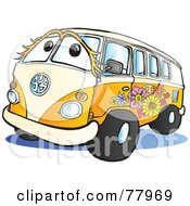 Royalty Free RF Clipart Illustration Of A Beige And Orange Flower Power Hippy Van