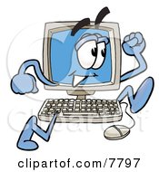 Desktop Computer Mascot Cartoon Character Running