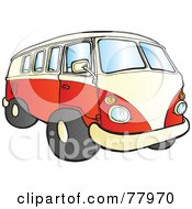 Red And White Hippy Camper Bus