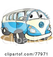 Royalty Free RF Clipart Illustration Of A Blue And White Hippy Van With A Face