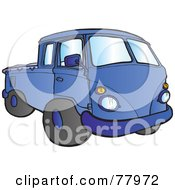 Royalty Free RF Clipart Illustration Of A Blue Hippy Micro Truck