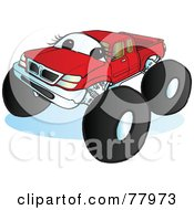 Royalty Free RF Clipart Illustration Of A Big Red Monster Truck With A Face by Snowy