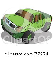 Green Pickup Truck With Tinted Windows