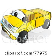 Royalty Free RF Clipart Illustration Of A Yellow Pickup Truck With A Face by Snowy #COLLC77975-0092