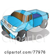 Blue Pickup Truck With Tinted Windows