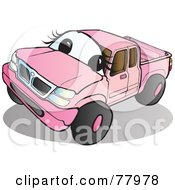 Royalty Free RF Clipart Illustration Of A Pink Pickup Truck With A Face by Snowy #COLLC77978-0092