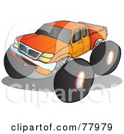 Royalty Free RF Clipart Illustration Of A Big Orange Monster Truck With Tinted Windows by Snowy