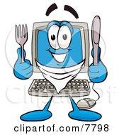 Desktop Computer Mascot Cartoon Character Holding A Knife And Fork