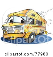Royalty Free RF Clipart Illustration Of An Orange Recreational Vehicle Driving Down A Road
